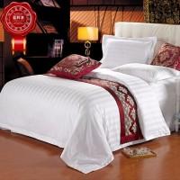 星级酒店床品套件批发 宾馆客房全棉白色三分缎条床上用品四件套