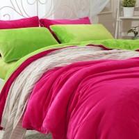 秋冬保暖床上用品 加厚金貂绒四件套 纯色双拼保暖珊瑚绒四件套